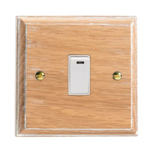 Varilight XK20NLOW Kilnwood Limed Oak 1 Gang 20A Double Pole Switch + Neon Indicator